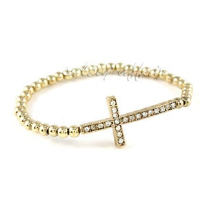Image of Sideway Cross Crystal Stretch Bracelet, SW121 Gold or Silver