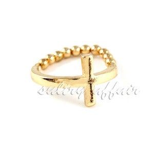 Image of Sideway Cross Stretch Ring, SW122 Gold or Silver
