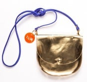 Image of Gold Largeish Leather Locket Handbag