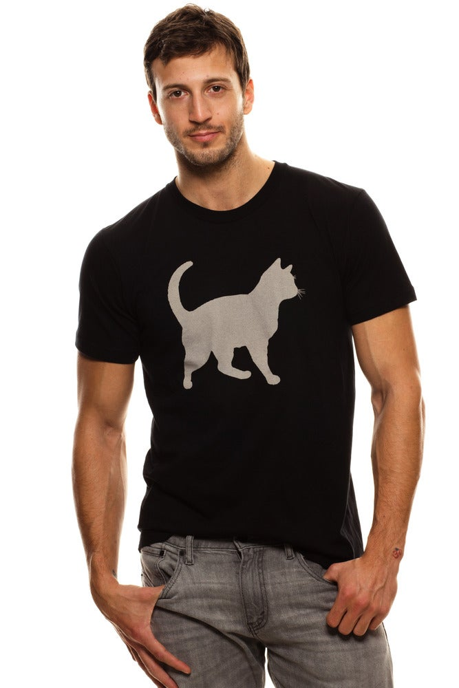 Image of GUYS BLACK &quot;MINI MIM&quot; BLEACH OUT CAT TEE