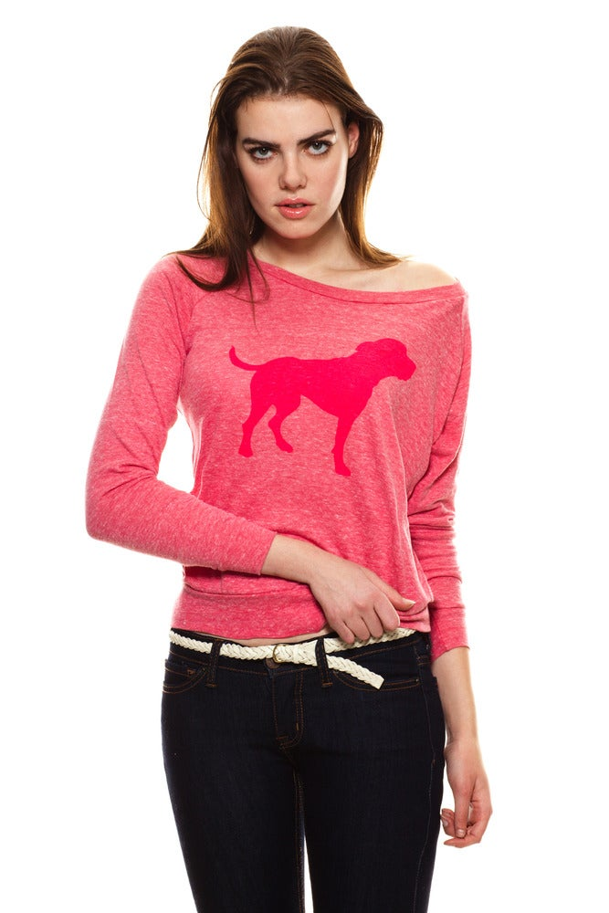Image of GIRLS FUCHSIA TINY TIM SLOUCHY PULLOVER