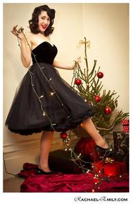 Image of *Black Velvet, satin and tulle dress