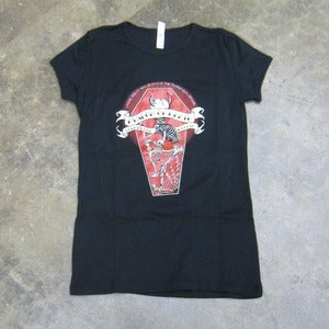 Image of Red Glitter Devil In Coffin - Girly Tee