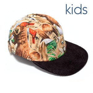 Image of BABY MOUPIA Wild Animals/ cord. KIDS 5 Panel Hat