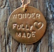 Image of Wonderfully Made Hand Stamped Pendant 