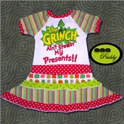 Image of The Grinch Ain't Stealin' My Presents Double Ruffle Dress - Size 3/4