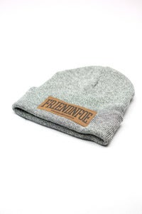 Image of The Grey Leather Patch Beanie