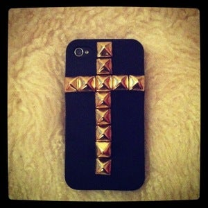 Image of Cross-Shaped Gold Studded iPhone 4/4s Cover