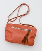 Image of ON SALE ! ALL LEATHER coral crossbody bag