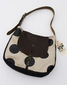 Image of S O L D-- natural linen + oversized black leather dots shoulder bag with a LEATHER flap!