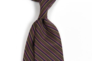 Image of Brown and Purple Silk Repp