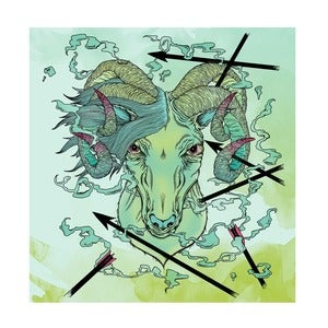 "Image of ""four horned ram"" pink edition giclee print"