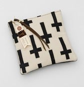 Image of -S O L D- hand painted crosses zip clutch with METAL zipper