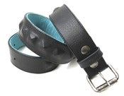 Image of No.80025 single row hidden pyramid stud belt. black saddle leather