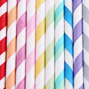 Image of Paper Straws (light stripes)