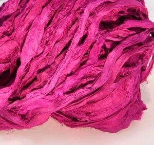 Image of Mumbai Magenta  Recycled Silk Sari Ribbon Yarn 100g