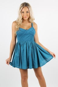 Image of UNTAMED TEAL SKATER DRESS