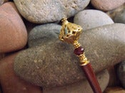 Image of Scheherazade Hairstick | Ornate Openworked Vermeil Bead, Faceted Pink Tourmaline