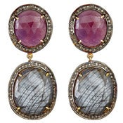 "Image of ""New"" Kara Ackerman <i> Alice Rose <i/> Double Drop Pink Sapphire and Diamond Earring"