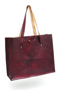 Image of Leather Beach Bag Tote - Handmade in America