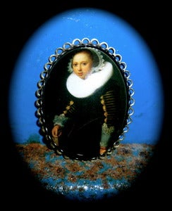 Image of Georgian Style OMARINA Heirloom Collection Brooch Pin 'Portrait of a Girl' Nicolaes Eliasz Pickenoy