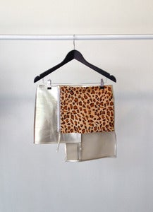 Image of GRAPHITE leather leopard skirt