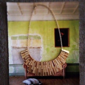 Image of Textured Gold Fan Necklace