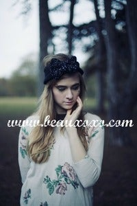 Image of Knitted Bow Headband Oversized Bow Cute Cosy Kawaii Lolita Ear Warmer in Glitter Black and Silver