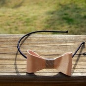 Image of the lil' leather bow- pale pink shimmer bow headband