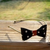Image of the lil' leather bow- black polka dot bow headband