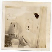 Image of NUDE WOMAN PREPARES BATH VINTAGE SNAPSHOT PHOTO