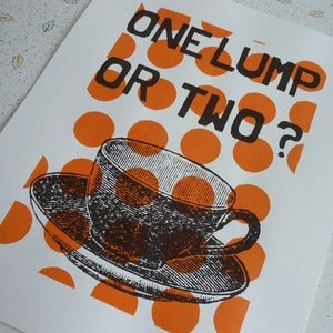 Image of One Lump or Two screenprint on paper - clementine/chocolate
