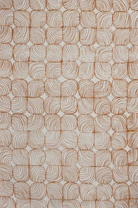 Image of lineal floral burnt tangelo linen