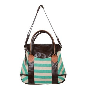 Image of Nathaniel Tote - kelly green stripe/brown