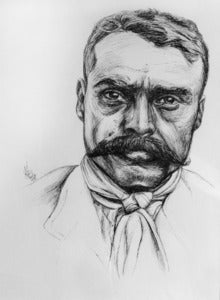 Image of Portrait of Emiliano Zapata, Original Ink Drawing