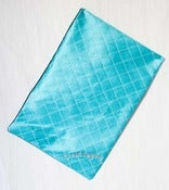 Image of Chantilly  - teal lingerie bag in silk with white silk tulle