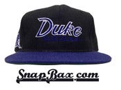 Image of Vintage Deadstock Duke Blue Devils Black Wool Sports Specialties Script Snapback hat
