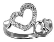 Image of Open Heart CZ Band Promise Ring, Anniversary ,Engagement