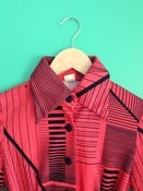 Image of Coral-y red long sleeve dress with black stripes &amp; black buttons