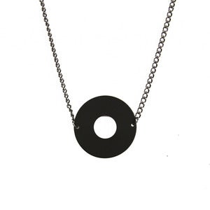 Image of Matte Black Circle Necklace