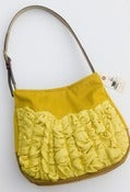 Image of S O L D- a large tough ruffles shoulder bag in goldenrod + sunshine (ikat print lining)