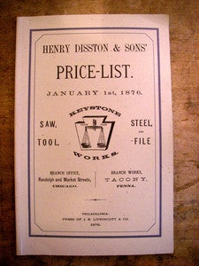 Image of Henry Disston & Sons Keystone Saw wk 1876 Catalogue reprint