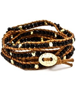 Image of Black Beaded Wrap Bracelet