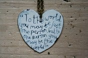 Image of Large enamel heart 'To the world' quote necklace