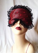 Image of Red Hearts boudoir sleep mask in satin and tulle hearts