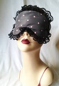 Image of  Rose Hearts -  Pink boudoir Sleep mask in satin and pink hearts tulle