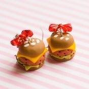 Image of Burger Bow Earrings