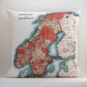 "Image of SWEDEN + NORWAY© 18"" x18"" Vintage-style Map Pillow Cover"
