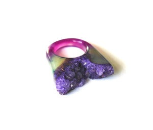 Image of Amethyst Raw Druzy Ring (v2)