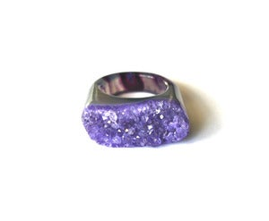 Image of Amethyst Raw Druzy Ring (v5)